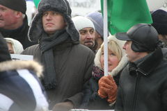 Opposition leader Alexei Navalny on the March for. Moscow, Russia - February 4, 2012. Opposition leader Alexei Navalny on the March for fair elections Stock Photos