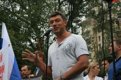 Opposition leader Boris Nemtsov speaks at a rally on the anniversary of the events of 1991 at the time of the coup in Moscow Royalty Free Stock Photography