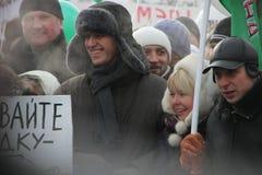 Opposition leaders Alexei Navalny and Evgenia. Moscow, Russia - February 4, 2012. Opposition leaders Alexei Navalny and Evgenia Chirikova on the March for fair Royalty Free Stock Photos