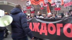 Opposition march organizer Nikolai Lyaskin stock footage