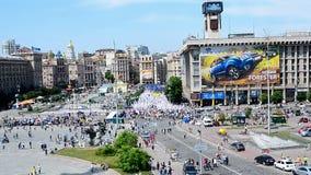 Opposition meeting during Europe Day celebration in Kiev, Ukraine, stock video