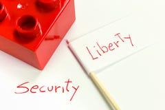 Opposition mellan frihet och säkerhet Arkivbilder