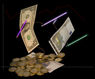 Free Opposition Of Currencies. Rur Falling. Humour. Stock Photography - 7954202