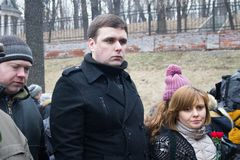 Opposition politician Konstantin Jankauskas with his wife at the funeral of Boris Nemtsov Stock Photos