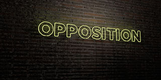 OPPOSITION -Realistic Neon Sign on Brick Wall background - 3D rendered royalty free stock image. Can be used for online banner ads and direct mailers Royalty Free Stock Images