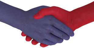 Opposition sides shake hands agree compromise Royalty Free Stock Photo