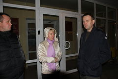 Oppositionsführer Alexei Navalny kam in Khimki an, um den Oppositionskandidaten Yevgeny Chirikova zu stützen Stockfoto