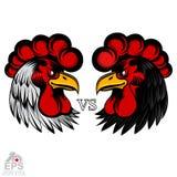 Opposto capo bianco e nero Logo per qualsiasi sport di squadra o gallo di gallo-lotte royalty illustrazione gratis