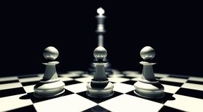 Oppressed pawns by king. Ruling class and church subjecting citizens to oppressive rule Stock Image