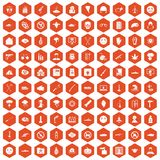 100 oppression icons hexagon orange Stock Photo