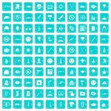 100 oppression icons set grunge blue. 100 oppression icons set in grunge style blue color isolated on white background vector illustration Royalty Free Stock Image