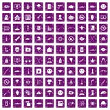 100 oppression icons set grunge purple. 100 oppression icons set in grunge style purple color isolated on white background vector illustration Stock Image