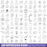100 oppression icons set, outline style. 100 oppression icons set in outline style for any design vector illustration vector illustration