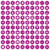 100 oppression icons hexagon violet. 100 oppression icons set in violet hexagon isolated vector illustration vector illustration