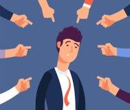 Opprimendo al concetto del lavoro L'uomo adulto ottiene le molestie dai colleghe arrabbiati Accus all'illustrazione di vettore de illustrazione di stock