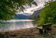 Opróżnia ławkę z widokiem jeziora fotografia royalty free