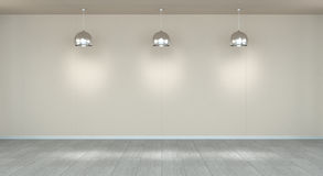 Opróżnia ścianę w muzeum z świateł 3D renderingiem Zdjęcie Stock