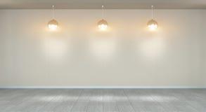 Opróżnia ścianę w muzeum z świateł 3D renderingiem Zdjęcia Stock