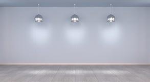 Opróżnia ścianę w muzeum z świateł 3D renderingiem Obraz Stock