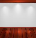 Opróżnia ścianę z światłem i drewnianą podłoga Fotografia Royalty Free