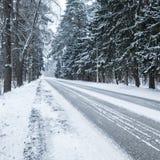 Opróżnia śnieżną wiejską drogę, kwadratowa fotografia Zdjęcie Royalty Free