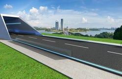 Opróżnia asfaltową drogę z tunelem, greenfield i nowożytną miasto linią horyzontu, fotografia stock