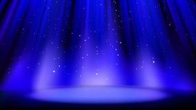 Opróżnia błękitną scenę z ciemnym tłem, miejsce zaświecający miękkim światło reflektorów, błyszczące iskrzaste cząsteczki Błękitn ilustracji