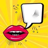 Opróżnia białego mowa bąbel dla twój teksta z czerwonymi wargami na żółtym tle Komiczni efekty dźwiękowi w wystrzał sztuki stylu  ilustracji