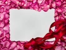 Opróżnia białego papieru ramę z cukierki menchii róż płatkiem, romans Fotografia Stock