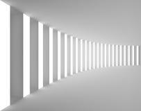 Opróżnia Białego wnętrze z Dużym światłem i kolumnami royalty ilustracja