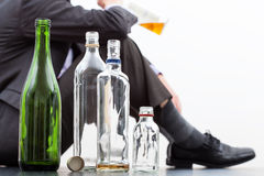 Opróżnia butelki alkohol Fotografia Royalty Free