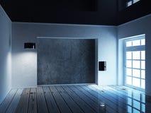 Opróżnia ciemnego pokój z okno, 3d ilustracji