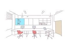 Opróżnia coworking astronautycznej nowożytnej biurowej wewnętrznej kreatywnie miejsce pracy co workspace nakreślenia pracującego  ilustracji