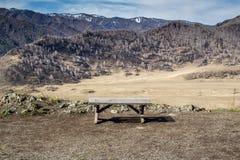 Opróżnia drewnianą ławkę przy wiosna sezonem w górach Fotografia Stock