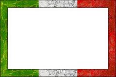 Opróżnia drewnianego obrazek ramy włocha flaga projekt Zdjęcia Royalty Free