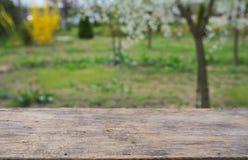 Opróżnia drewnianego pokładu stół Fotografia Royalty Free