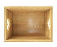 Opróżnia drewnianego pudełko odizolowywającego na bielu z kierowymi właścicielami w odgórnym widoku Obrazy Royalty Free
