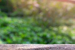 Opróżnia drewnianego stół z bezpłatną przestrzenią i zamazującym zielonym drzewnym bokeh obrazy royalty free