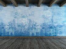 Opróżnia grunge błękitny pokój Zdjęcie Royalty Free