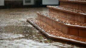 Opróżnia kroki w deszczu zbiory