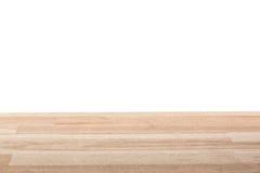 Opróżnia lekki drewniany stołowy odgórny odosobnionego na białym tle Przestrzeń dla twój tło produktów lub plasowania Zdjęcie Royalty Free