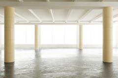 Opróżnia lekkiego loft biuro z filarami i dużymi okno royalty ilustracja