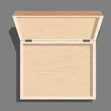 Opróżnia otwartego drewnianego pudełka odgórnego widok Skrzynka od desek Unblo ilustracja wektor