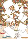 Opróżnia papiery, lata nad biurowy biurko ilustracji