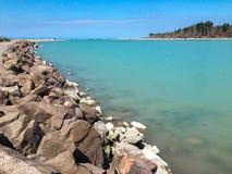 Opróżnia plażę blisko Christchurch, Południowa wyspa, Nowa Zelandia zdjęcia stock