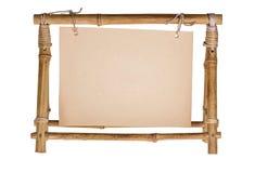 Opróżnia ramę dla fotografii od bambusa Zdjęcia Royalty Free