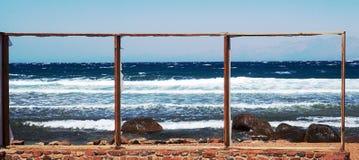 Opróżnia ramy na plaży Obrazek morze Triptich morze Czerwony morze, Da Obrazy Stock