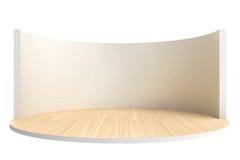 Opróżnia scenę lub round pokój z drewnianą podłoga i białym ściana z cegieł Obrazy Royalty Free