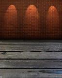 Opróżnia stół i ściana z cegieł Zdjęcia Stock