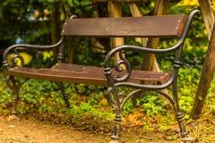 Opróżnia starą drewnianego i dokonanego żelaza ławkę w parku Fotografia Royalty Free